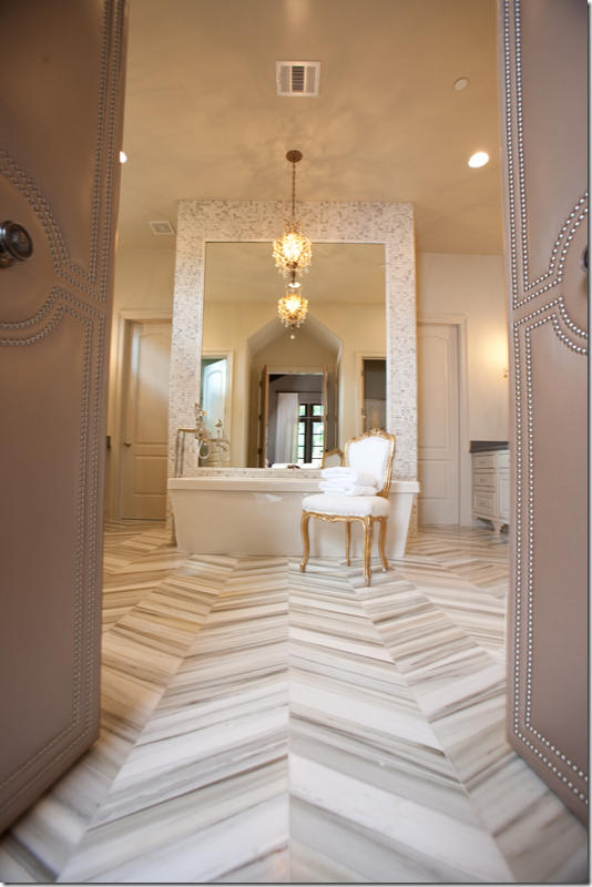 Gorgeous master bathroom design with marble herringbone tile floor, soaking  tub, gold French Louis chairs and crystal chandelier. - Bathroom With Herringbone Tile Floor, Contemporary, Bathroom, CR