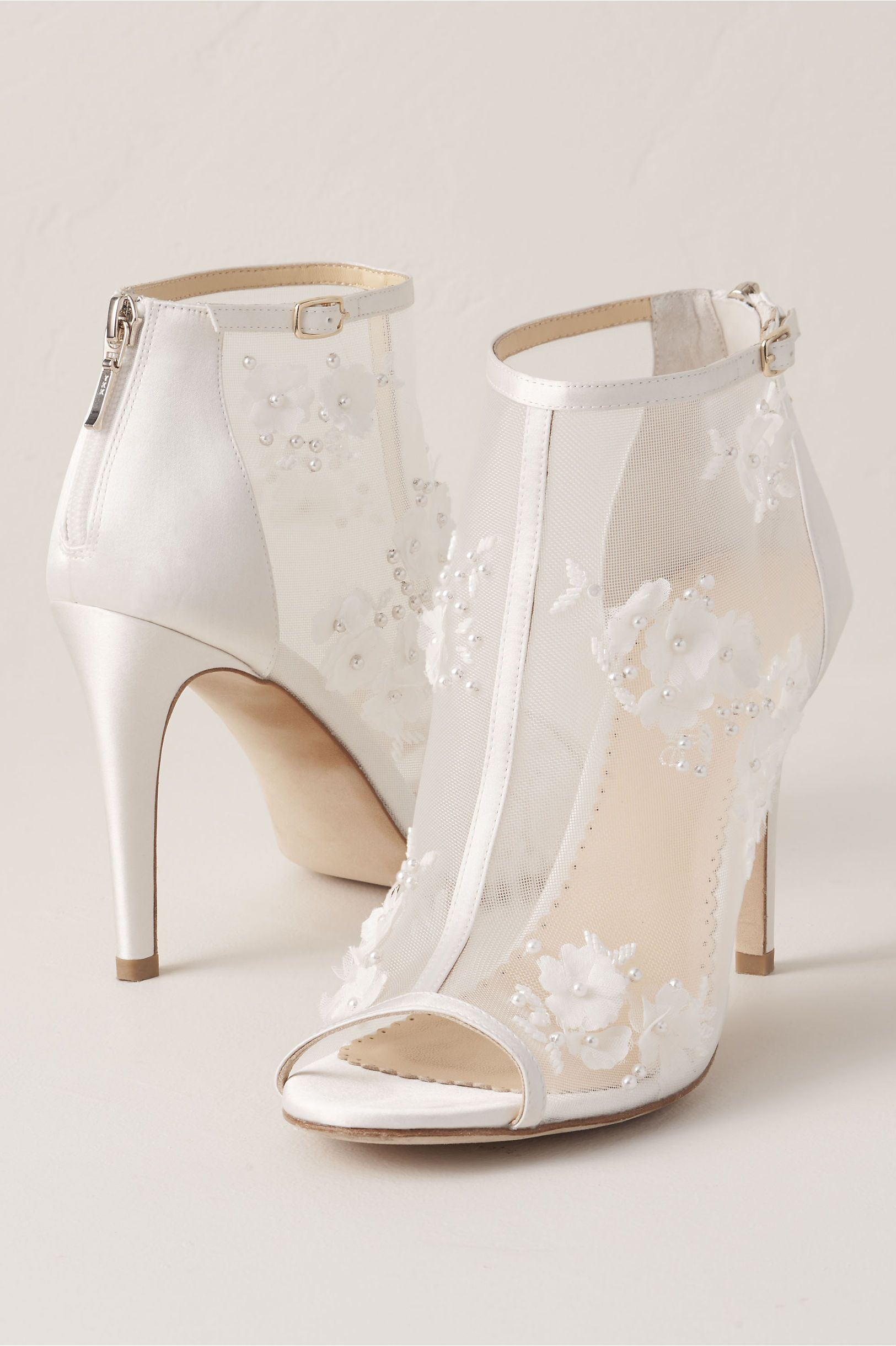 Bella Belle Floral Chiffon Bootie In 2020 Bridal Shoes White Wedding Shoes Wedding Boots