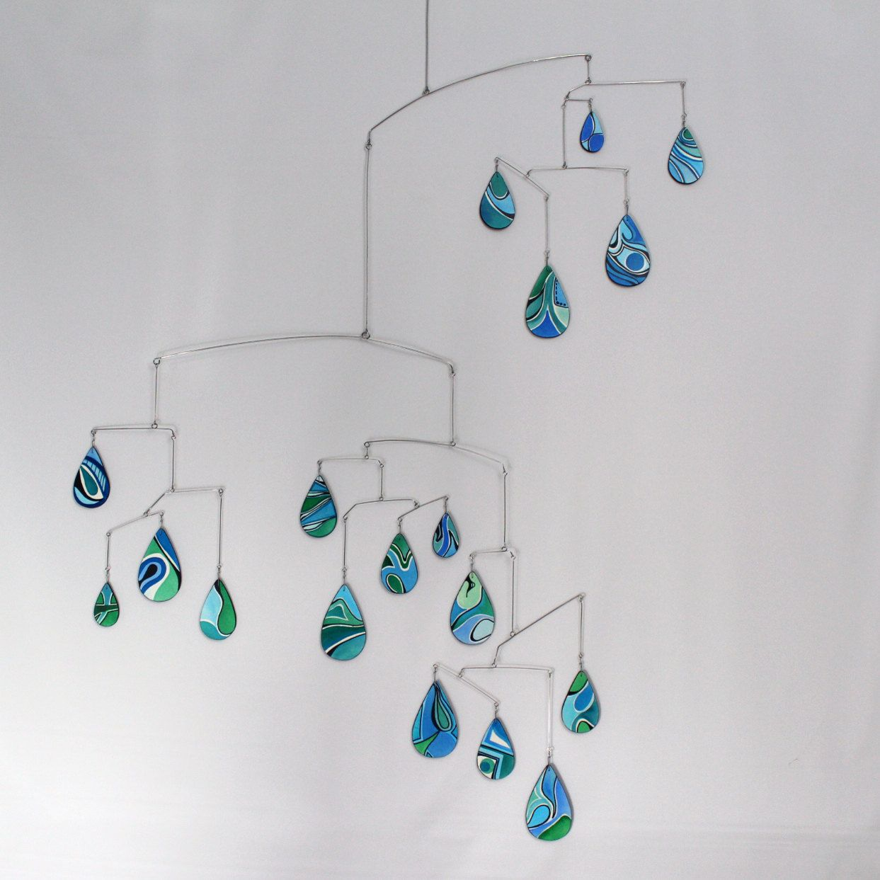 Large Raindrops Art Mobile Spring Shower Hanging