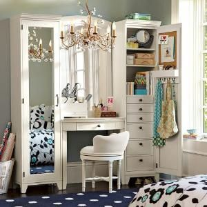 Hampton Vanity Tower & Super Set | PBteen...would be a nice desk or sewing area