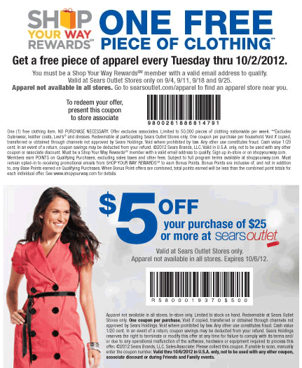 Free Piece Of Clothing Plus 5 Off 25 Today At Sears Outlet Coupon Apps Clothes Outlet