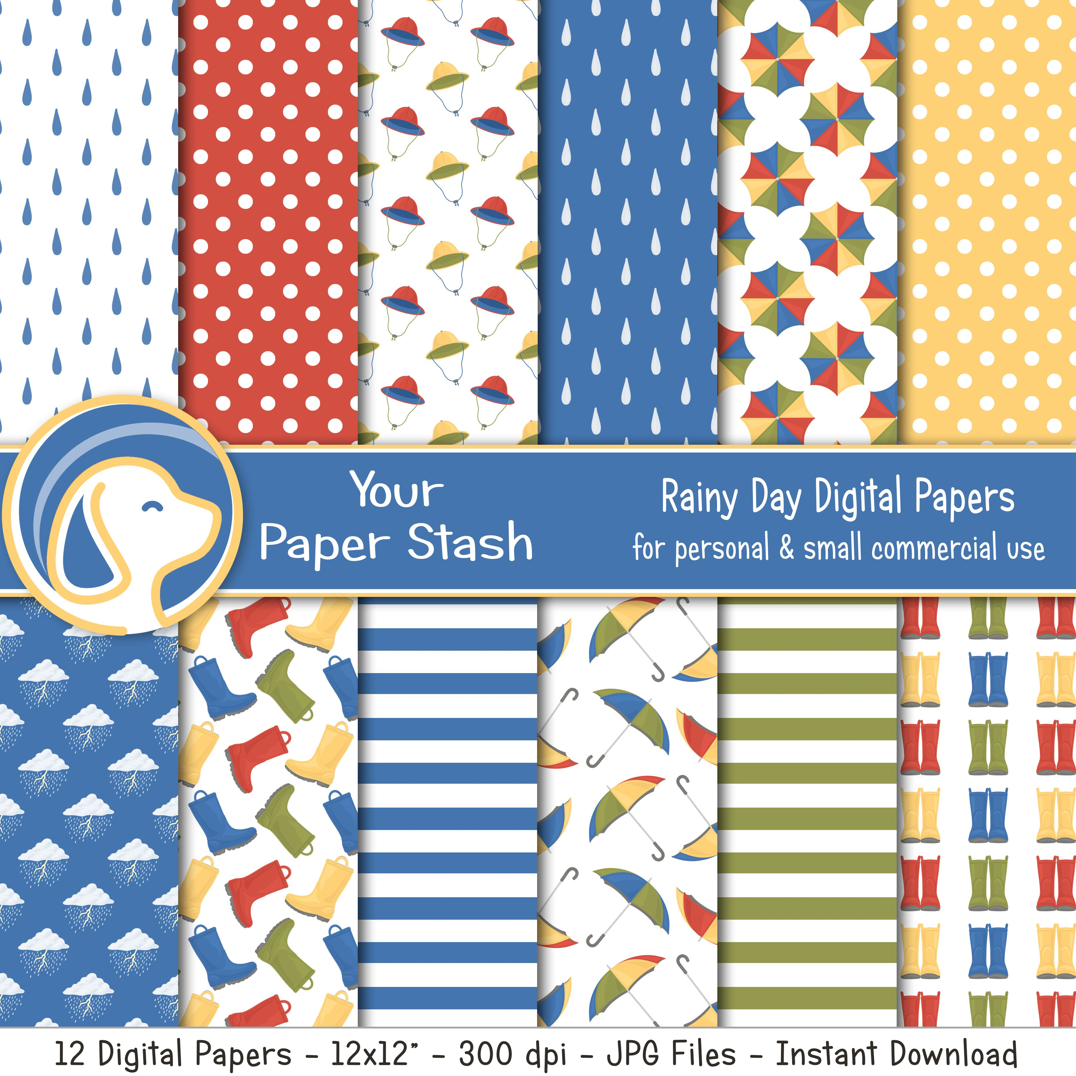 Rainy Day Digital Scrapbook Papers With Raindrops Rain Boots Umbrella Patterns April Showers Rainbow Digital Paper Pack In 2020 Digital Scrapbook Paper Scrapbook Paper Digital Paper
