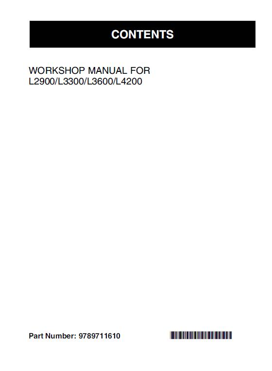 Kubota L2900 L3300 L3600 L4200 Tractor Workshop Manual Kubota Tractors Manual