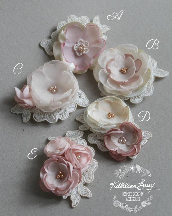 Lace handmade flower motifs - Flower girl retinue hair clip - Ivory Blush pink rose gold - Wedding Accessories