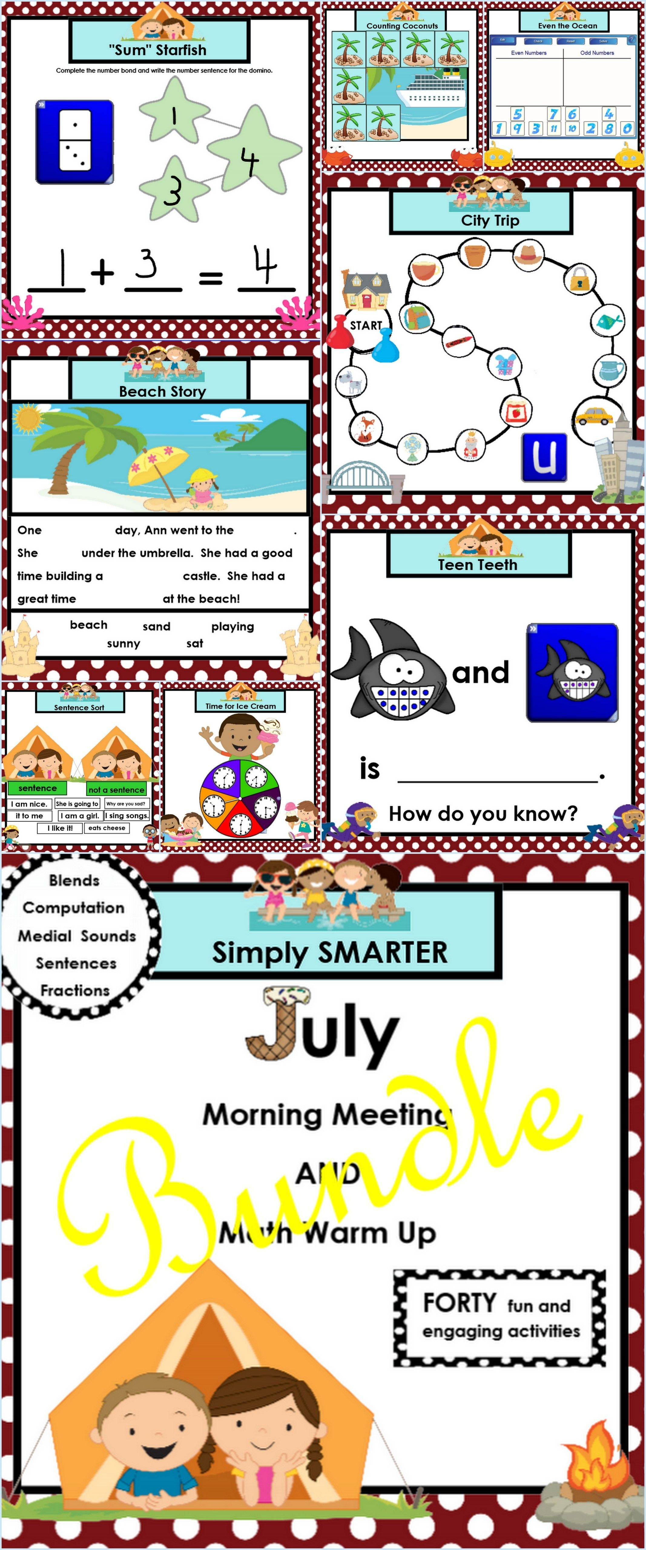 July morning meeting and math warm up bundle | Pinterest | Pre ...