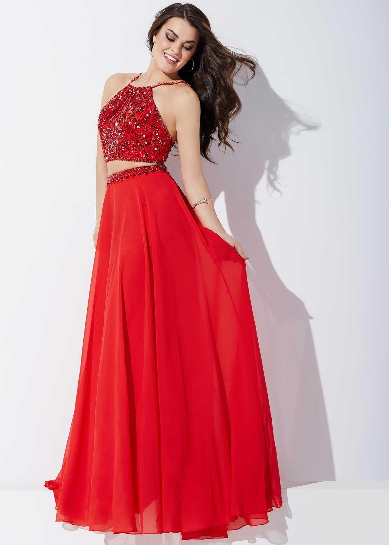 Jovani regal two piece red chiffon prom dress final dress