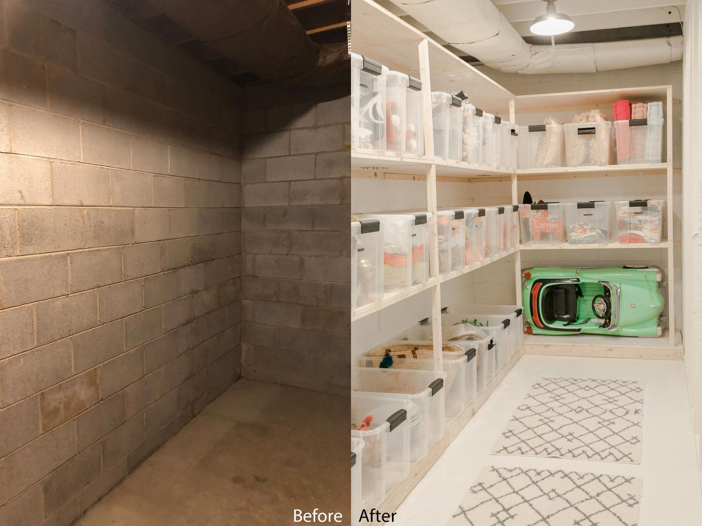Elsie S Storage Room Makeover A Beautiful Mess Basementstorageroom Piece De Rangement Rangement Maison Idee Deco Buanderie