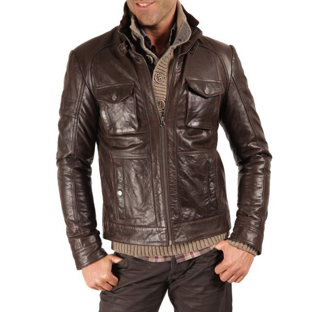 Cuir Carnet Homme Pinterest Vol De Buffle Marron Mode Blouson aOx4w4