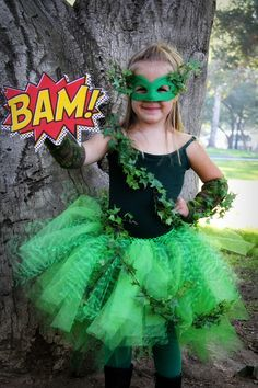 cute kids poison ivy costume that looks easy to diy