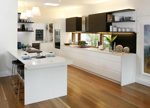 white polyurethane drawers in dulux lexicon quarter with dark overhead cabinets in laminex espresso ligna - Kitchen Overhead Cabinets