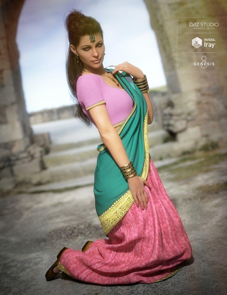 Saree for Genesis 8 Female and Victoria 8 | Daz Poser | Saree