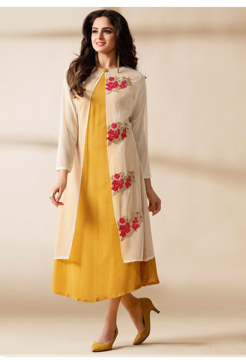 bb0b3fe2a8 Readymade #Yellow, #Cream Heavy #Georgette #Long #Kurtis #nikvik #usa  #designer #australia #canada #freeshipping #dress #tunic