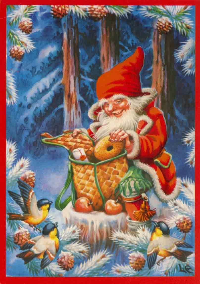 vintage christmas card | Nisse, Tomte, Gnomes | Pinterest ...