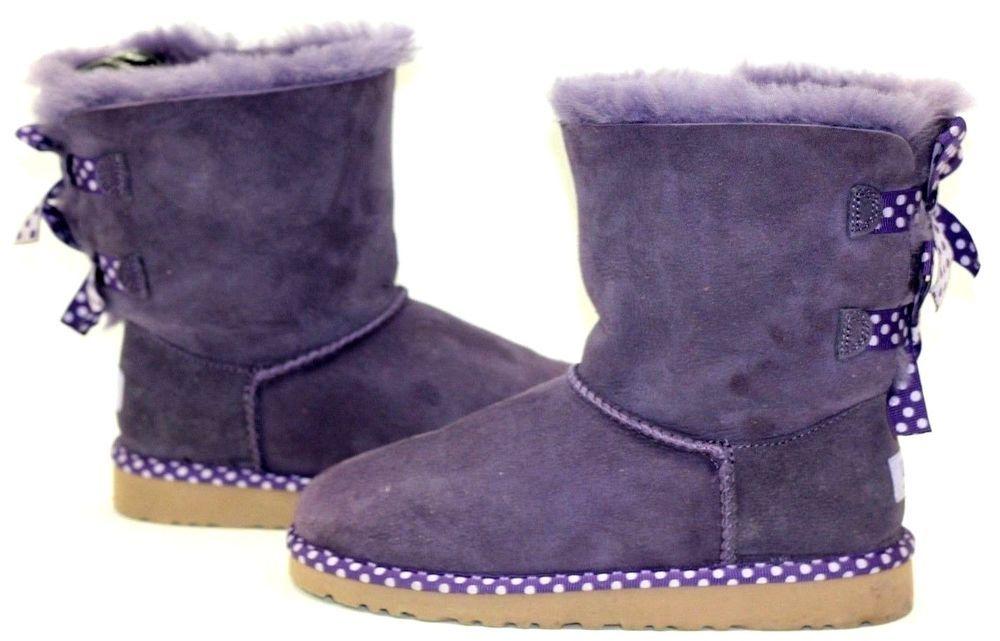 10fb715cd49 New UGG Australia Kids Girls Bailey Bow Polka Dot Purple Suede Fur ...
