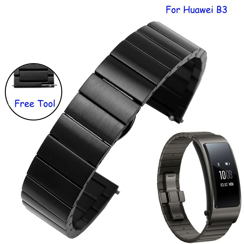 3e786a657d7 Click to Buy    Quality solid stainless steel watch band 16mm black silver.