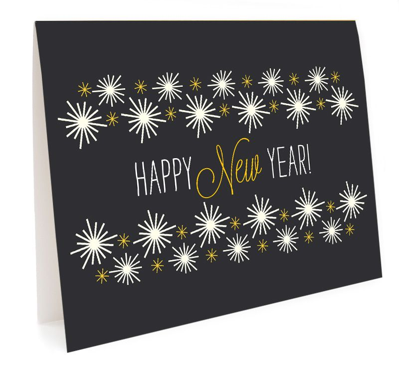 Golden New Year Box Of 10 By Night Owl Paper Goods Happy New Year Cards Folded Holiday Cards Classic Christmas Cards