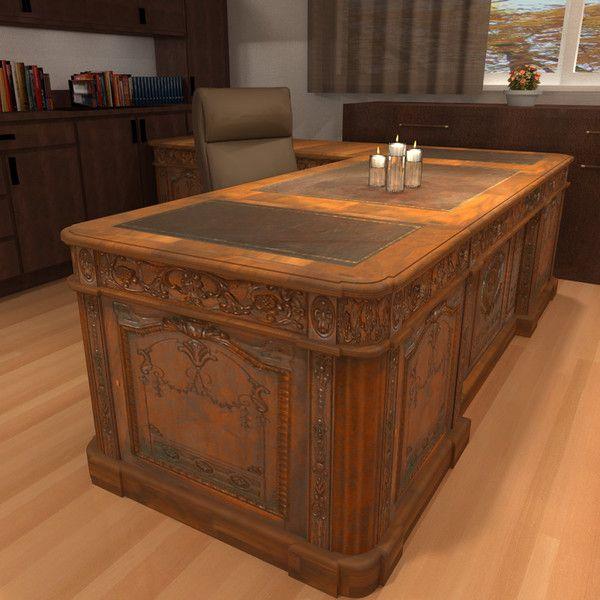 carved wood antique office desk 3d model - Office Desk (Resolute Desk) -  Architectural - Carved Wood Antique Office Desk 3d Model - Office Desk (Resolute