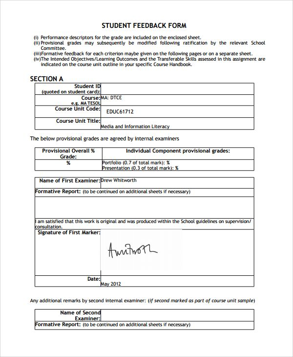 A students feedback form provides information about a student\u0027s