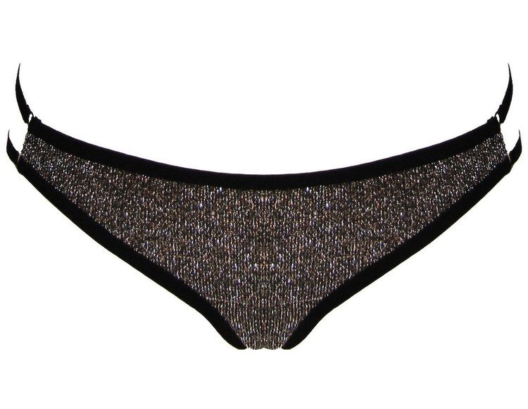 CASSIOPEIA THONG by elai. This low-rise thong his made from sparkly lurex, lined with soft mesh and has a sheer mesh panel at the back. Finished with soft fold-over elastic around the waist and legs. Pair with the CASSIOPEIA BRA.