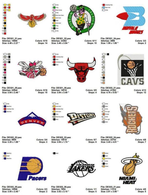 e40ca9a98eb68 NBA LOGO Machine Embroidery Design Set of 23 | Embroidery Cartoons ...