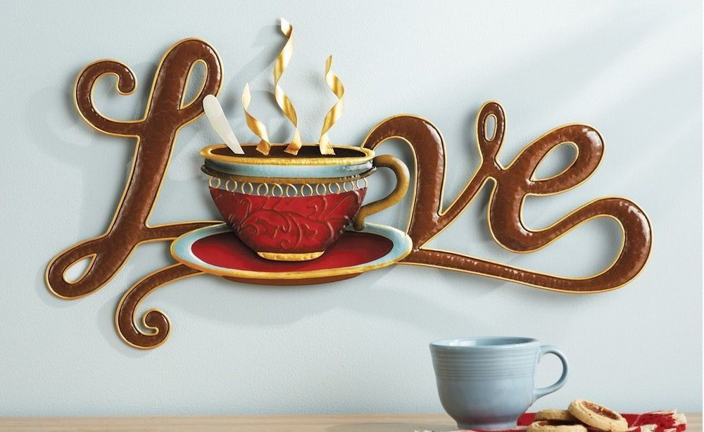 steaming coffee cup love metal wall art plaque hanging on wall decorations id=21124