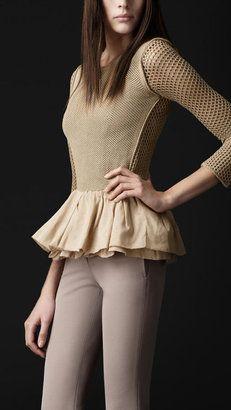 da29797b8af ShopStyle  Silk Mesh Peplum Sweater