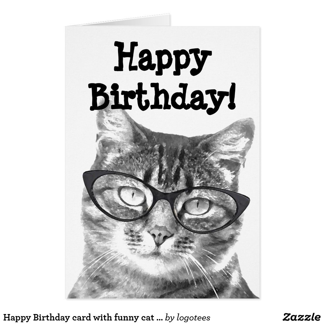 Happy Birthday Card With Funny Cat Design Pinterest Happy
