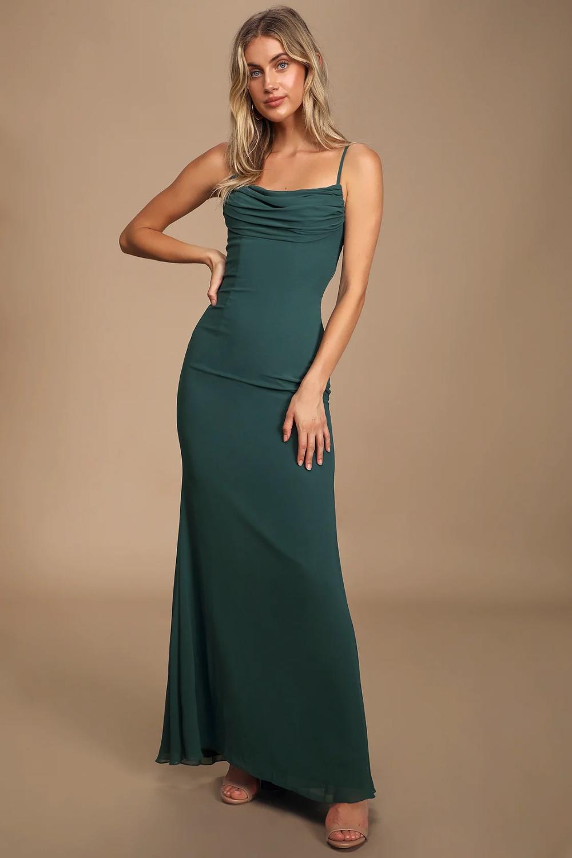 Captivated Emerald Green Cowl Neck Maxi Dress In 2020 Maxi Dress Green Maxi Dress Cowl Neck Wedding Dress