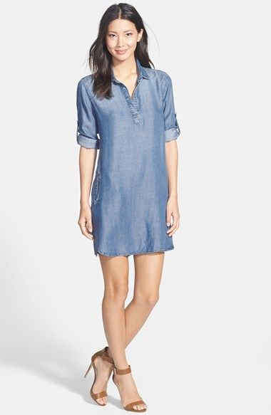 Side Stitch Roll Sleeve Chambray Shirtdress from Nordstrom -- $59