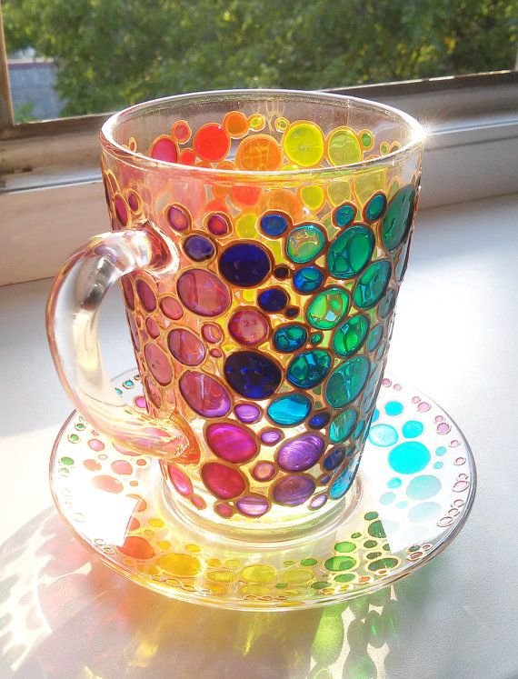 b20f6b74f01 Hand painted Sun catcher Coffee Cup with Saucer, Multi Coloured Bubbles Mug,  Painted Glass mug