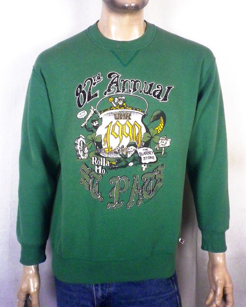 vtg 80s 90s retro 1990 UMR Missouri Rolla St Pats Sweatshirt Russell snakes  XL 0cb3928a8