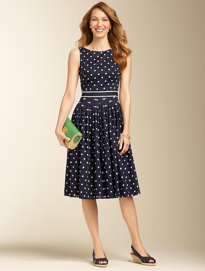Summer Dot Dress By Talbots Talbots Outfits Dresses Talbots Summer [ 1057 x 800 Pixel ]