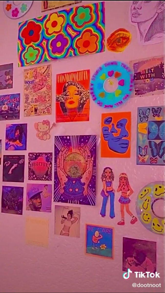 Creds To Dootnoot On Tik Tok Indie Room Decor Wall Collage Indie Bedroom Tik tok room ideas aesthetic indie room decor wall collage