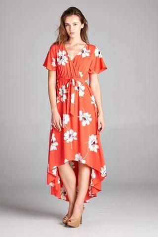 1e02fb9954f Abby Coral Hi-Lo Dress