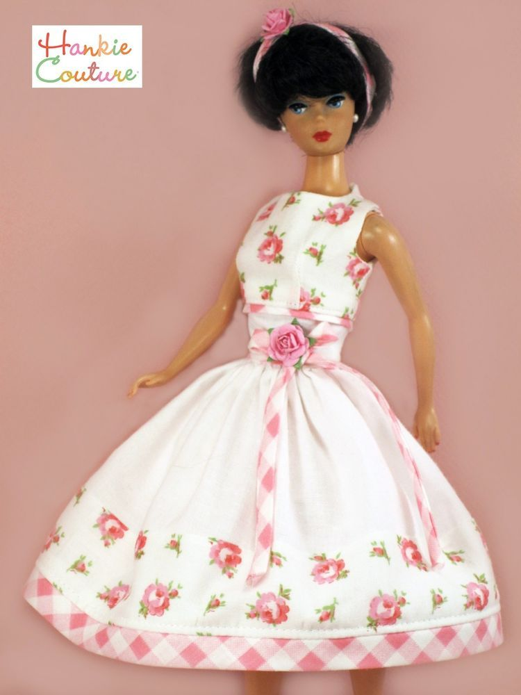 Ooak pink floral zipper doll dress fits barbie repro clothes hankie ...