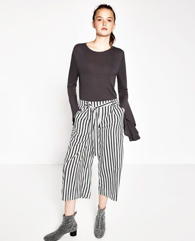 New Womens Ladies High Waisted Striped Belted Cropped Culottes Trousers