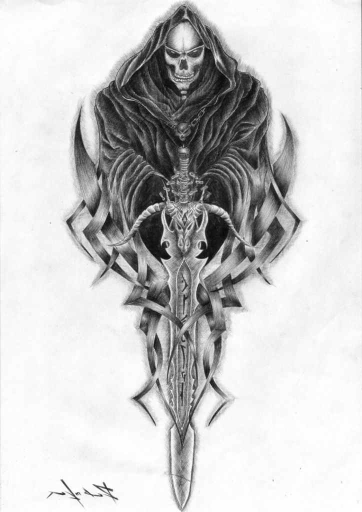 grim reaper tattoos for men grim reaper skull tattoos. Black Bedroom Furniture Sets. Home Design Ideas