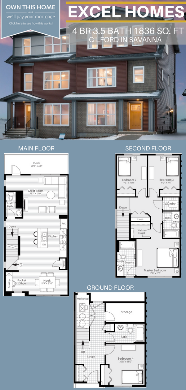 Two Story Floorplan Plus Basement 4 Bedroom 3 5 Bathoom Home House Ideas House Inspiration Gilford By Excel Ho House Blueprints Floor Plans House Plans