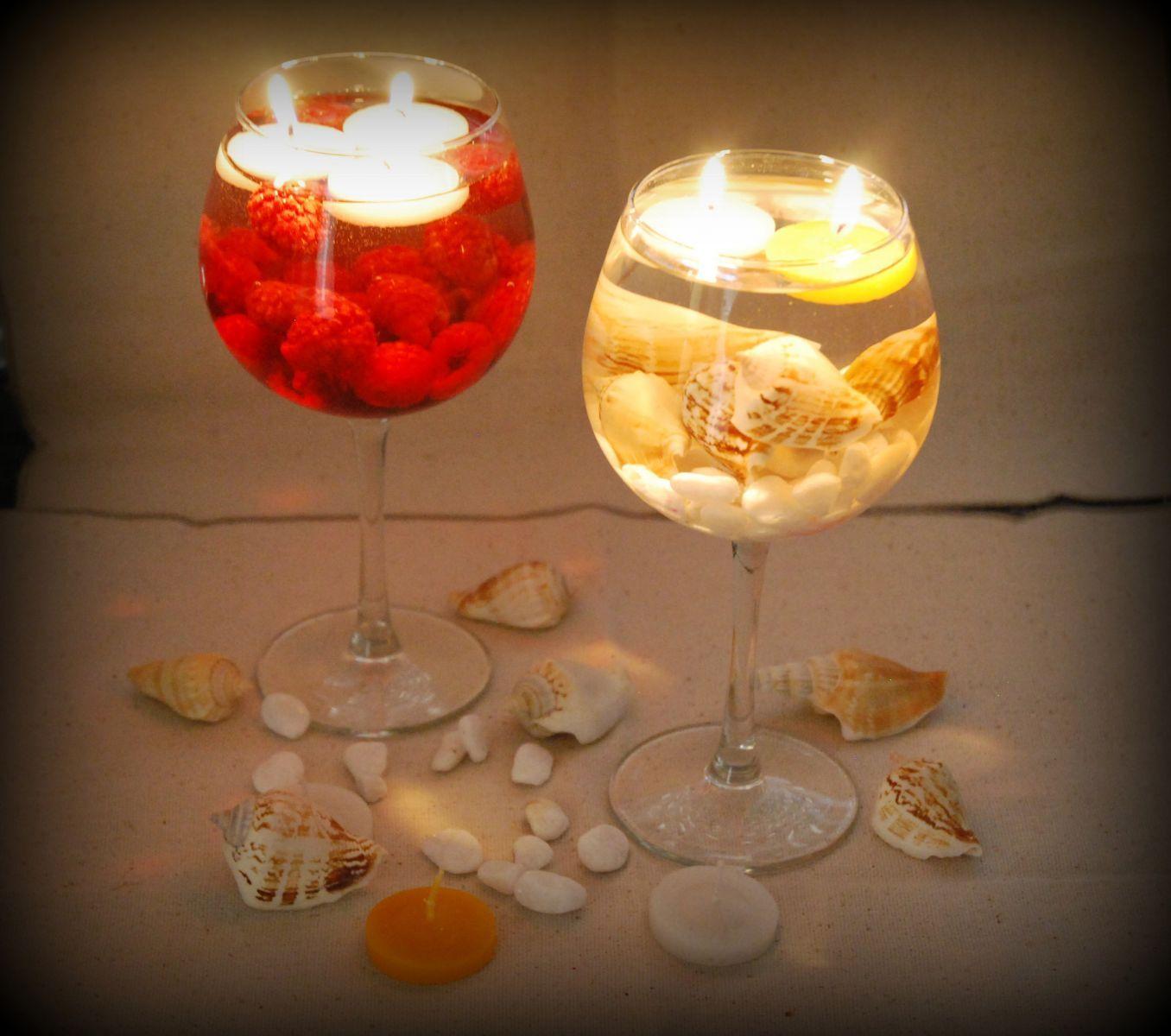 Velas flotantes en copas bal n una idea muy original for Adornos navidenos con copas y velas