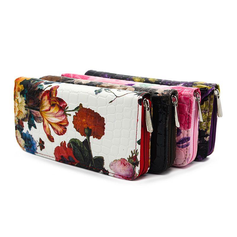 패션 꽃 인쇄 여성 지갑 긴 인기 지갑 가방 여성 핸드백 전화 클러치 지갑 카드 홀더 지퍼 포켓 선물