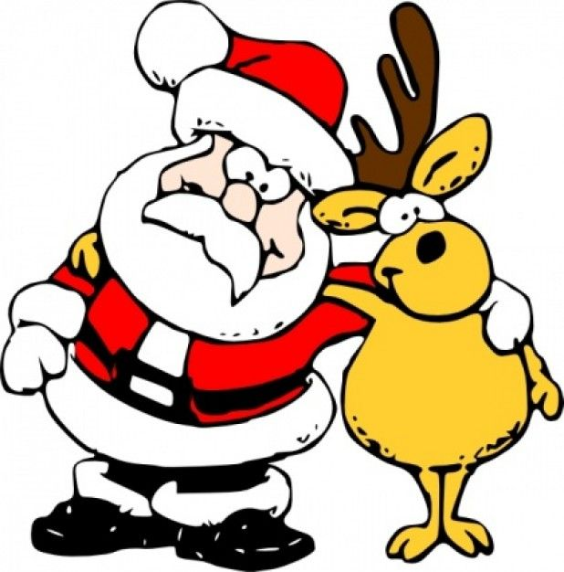 Santa And Reindeer Clip Art Free Rh Co Uk Funny Merry Christmas