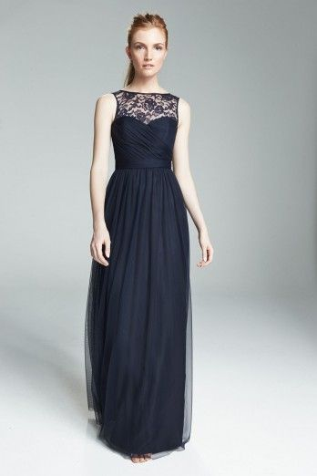 1e7228226f716 Amsale Bridesmaids: Chandra. floor length gown with a touch of lace ...