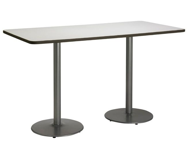 Mode Bar Height Cafe Table W Silver Round Base 36 X 72
