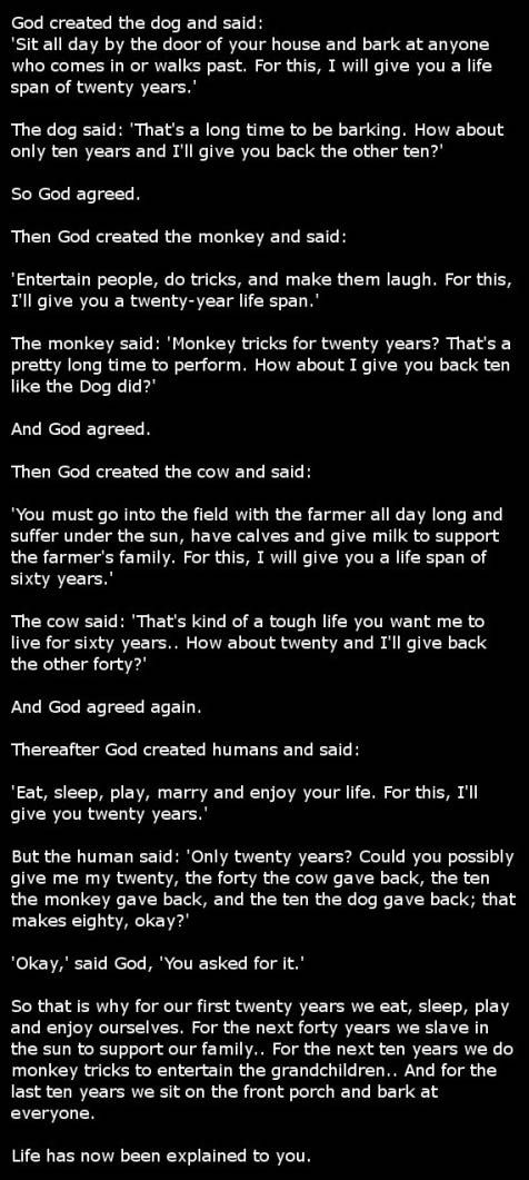 Life has now been explained to you.