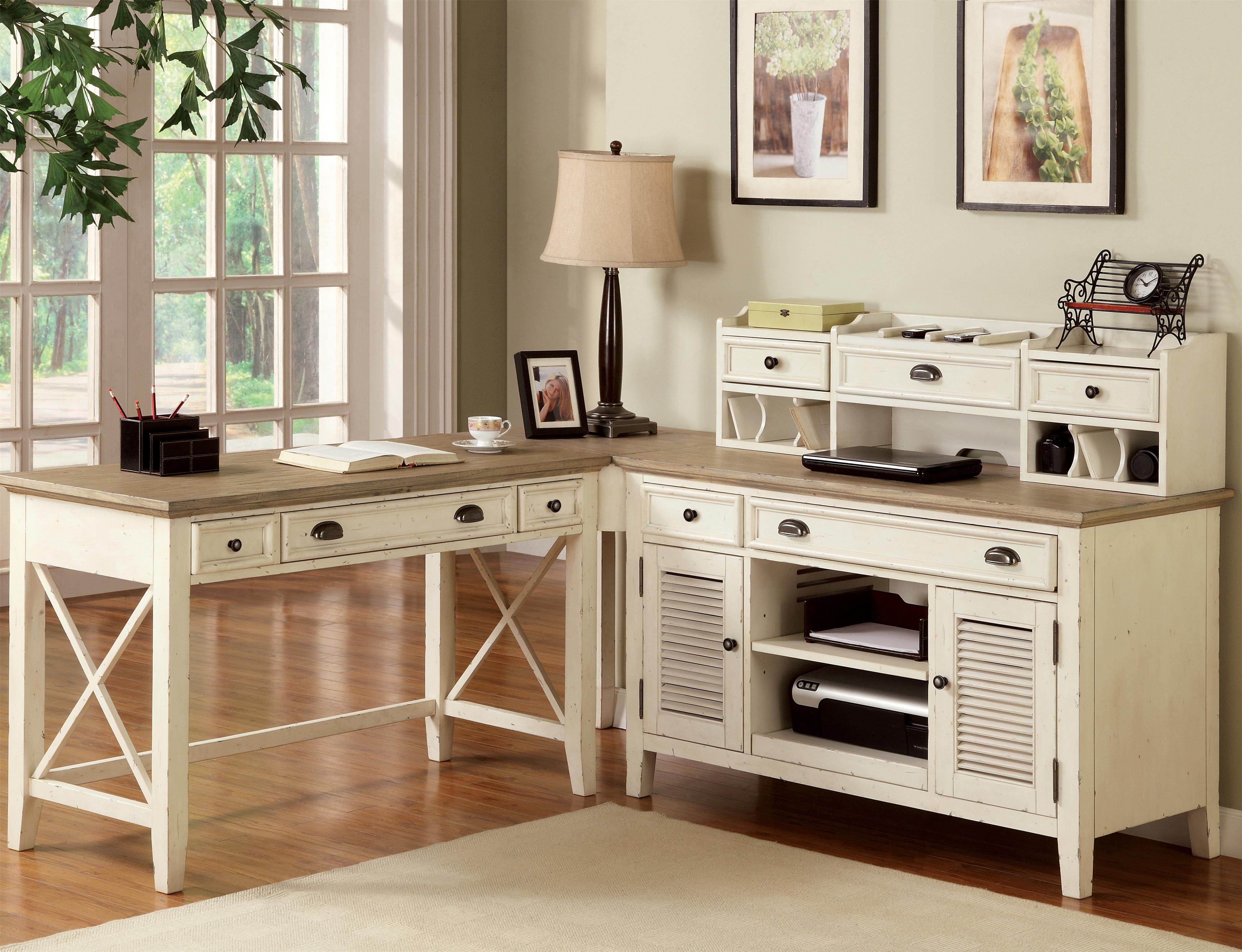 captivating home office desk furniture wood | Furniture: L Shaped White Wooden Desks With Hutch And ...