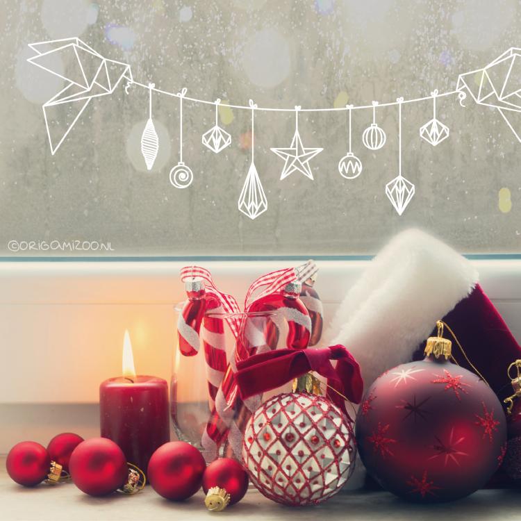 Polygoon kerstslinger raamtekening