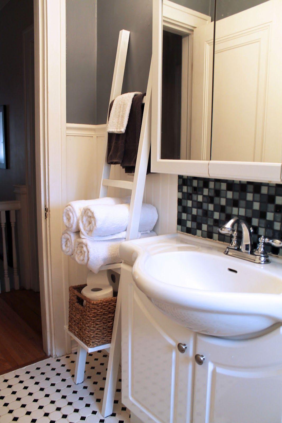 ikea ladder shelf made into a bathroom shelf diy solutions rh pinterest com