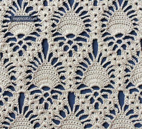 Lace Pineapple Crochet Stitch Mypicot Free Crochet Patterns