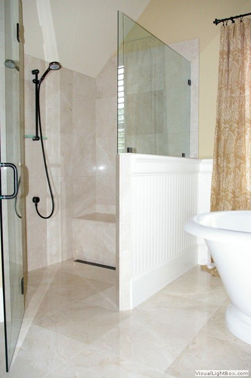 Zero Entry Shower With Large Floor Tiles Giovannis Tile Roswell