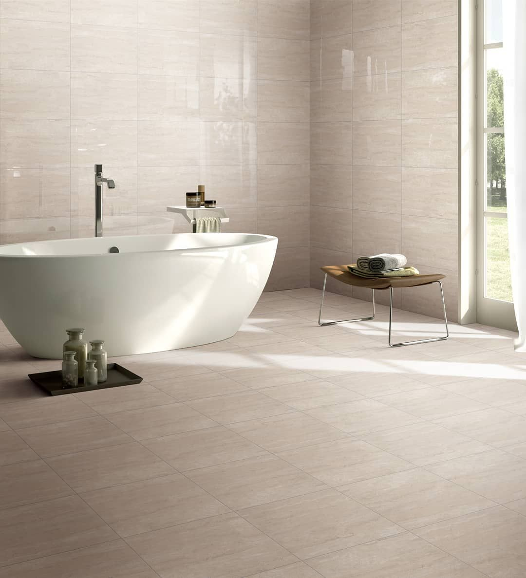Elite Importers Tiles Our Travertina In Beige With Matching Floor And Wall Is A Dream When Paired With A Compli Free Standing Bath Bathroom Design Flooring